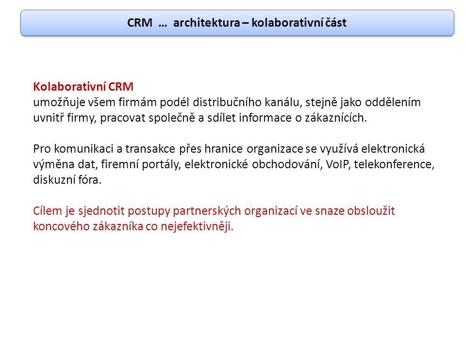 CRM … architektura – kolaborativní část