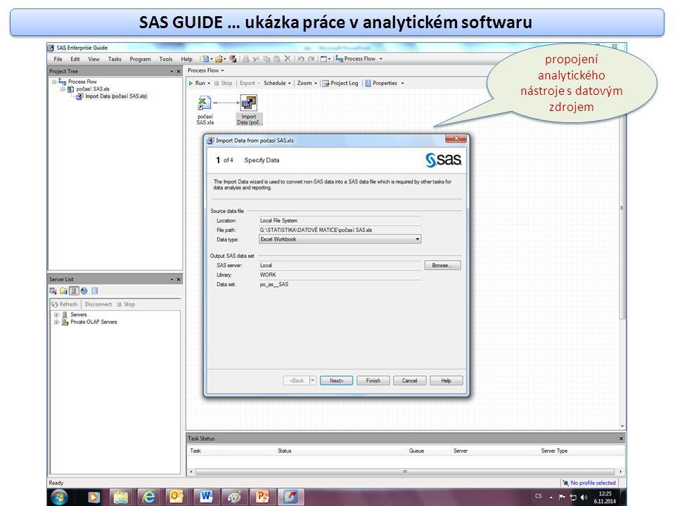 SAS GUIDE … ukázka práce v analytickém softwaru