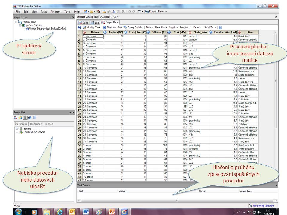 Pracovní plocha - importovaná datová matice
