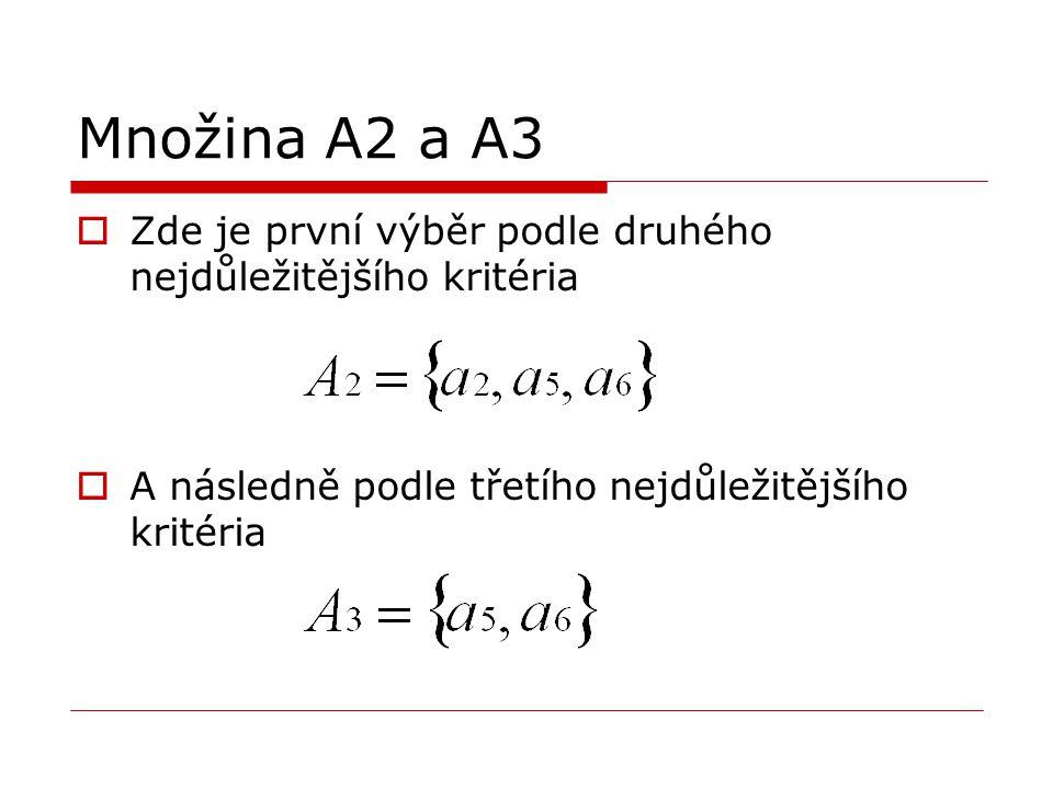 Množina A2 a A3 Zde je první výběr podle druhého nejdůležitějšího kritéria.