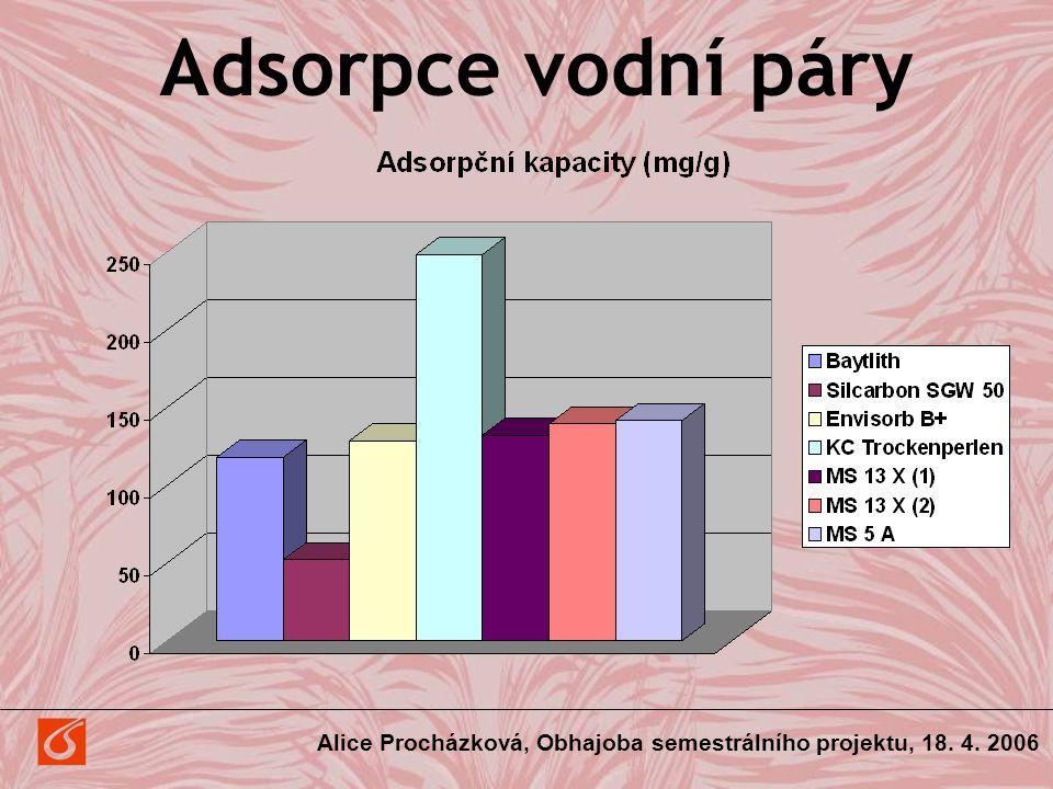 Adsorpce vodní páry Alice Procházková, Obhajoba semestrálního projektu, 18. 4. 2006