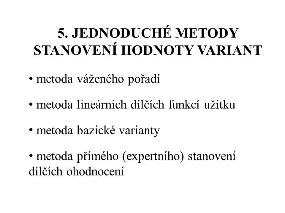 5. JEDNODUCHÉ METODY STANOVENÍ HODNOTY VARIANT
