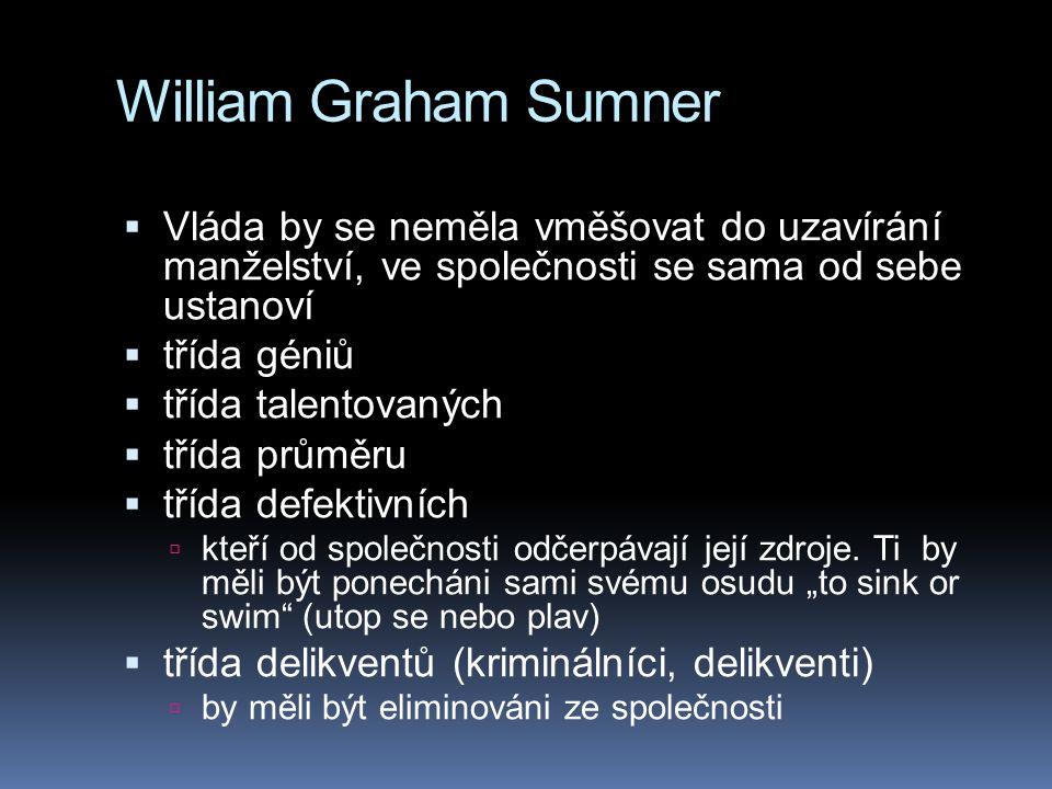 William Graham Sumner Vláda by se neměla vměšovat do uzavírání manželství, ve společnosti se sama od sebe ustanoví.
