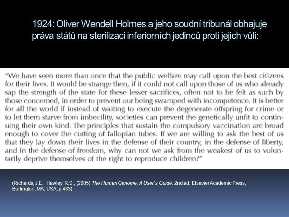 1924: Oliver Wendell Holmes a jeho soudní tribunál obhajuje práva států na sterilizaci inferiorních jedinců proti jejich vůli: