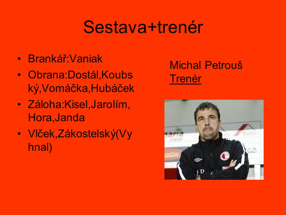 Sestava+trenér Brankář:Vaniak Obrana:Dostál,Koubský,Vomáčka,Hubáček