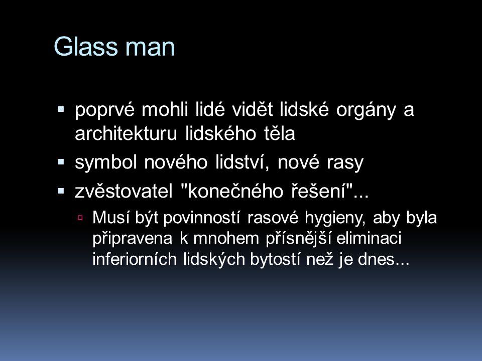 Glass man poprvé mohli lidé vidět lidské orgány a architekturu lidského těla. symbol nového lidství, nové rasy.