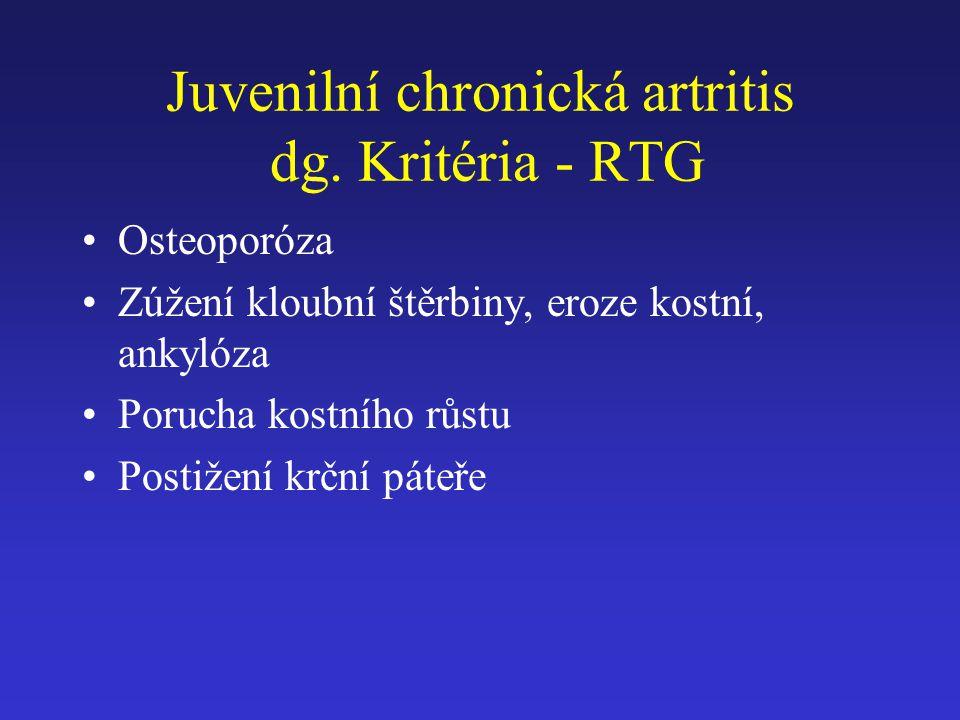 Juvenilní chronická artritis dg. Kritéria - RTG