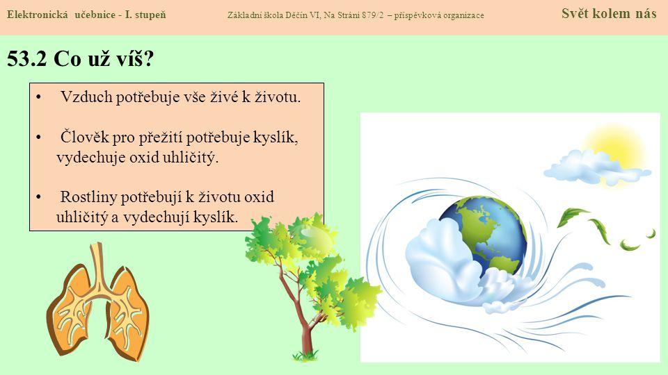 53.2 Co už víš Vzduch potřebuje vše živé k životu.