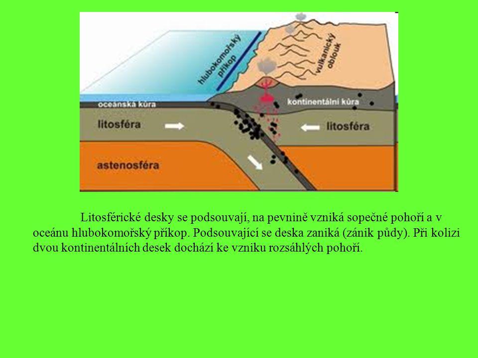 Litosférické desky se podsouvají, na pevnině vzniká sopečné pohoří a v oceánu hlubokomořský příkop.