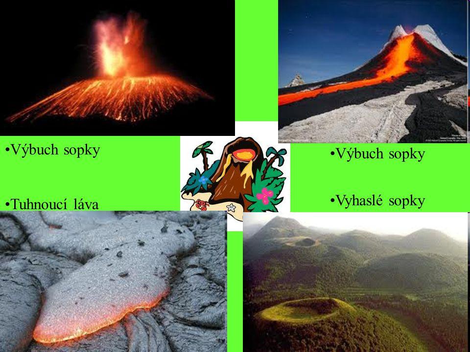 Výbuch sopky Výbuch sopky Vyhaslé sopky Tuhnoucí láva
