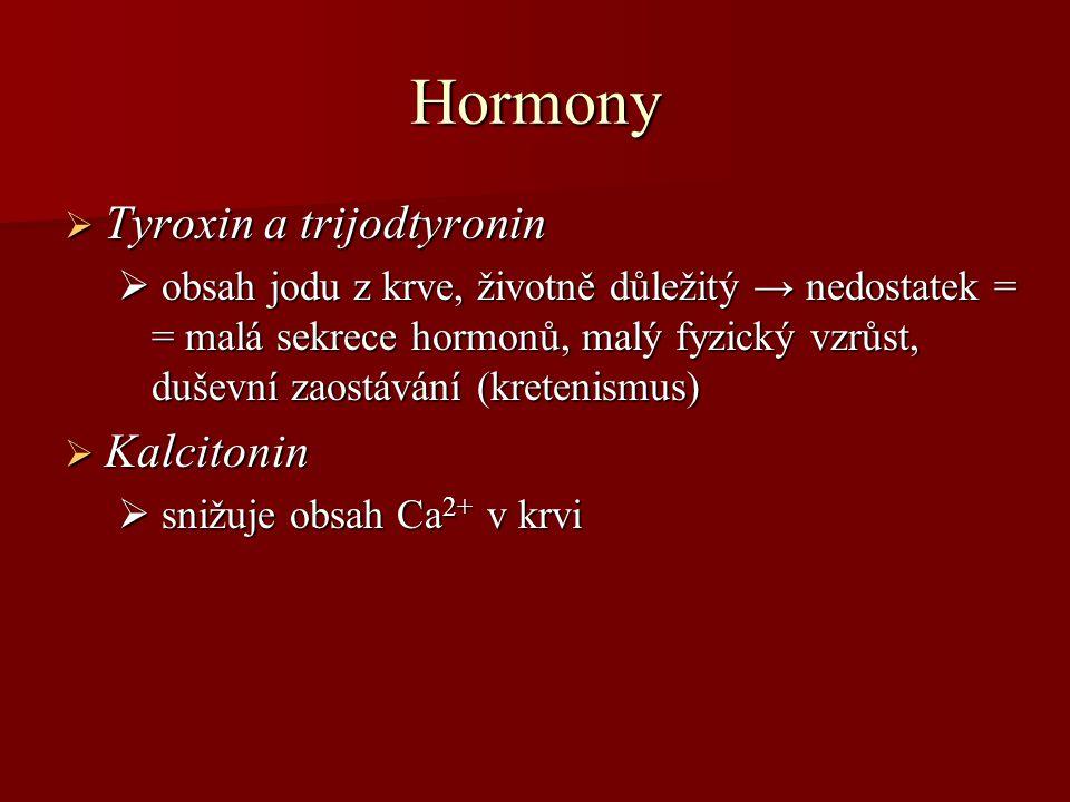Hormony Tyroxin a trijodtyronin Kalcitonin