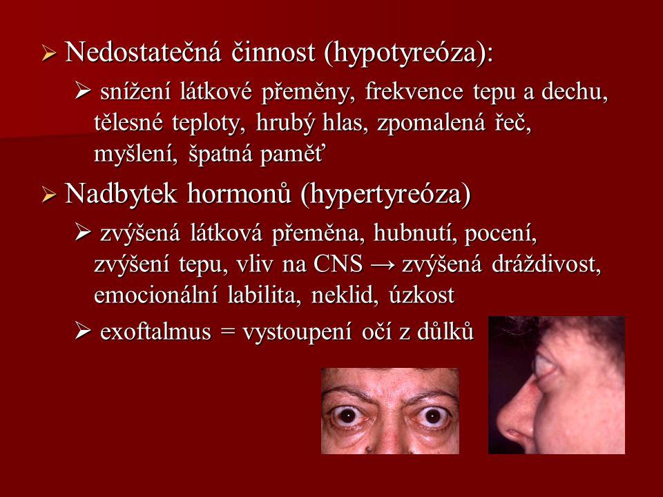 Nedostatečná činnost (hypotyreóza):