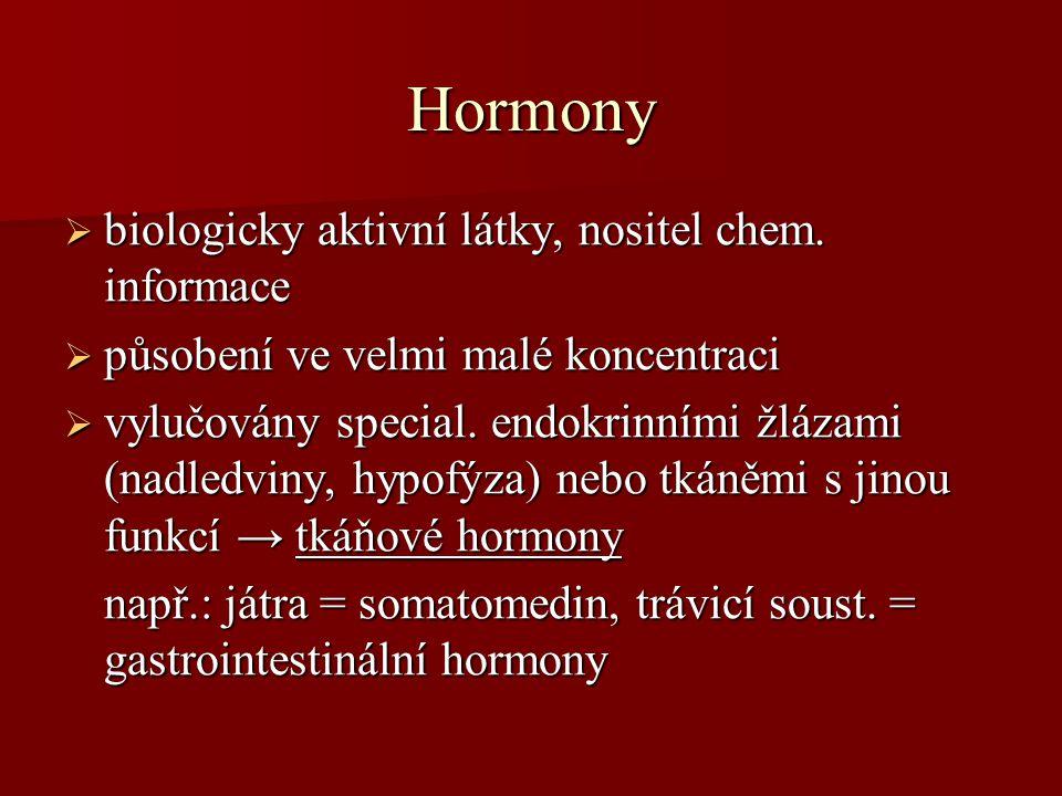 Hormony biologicky aktivní látky, nositel chem. informace