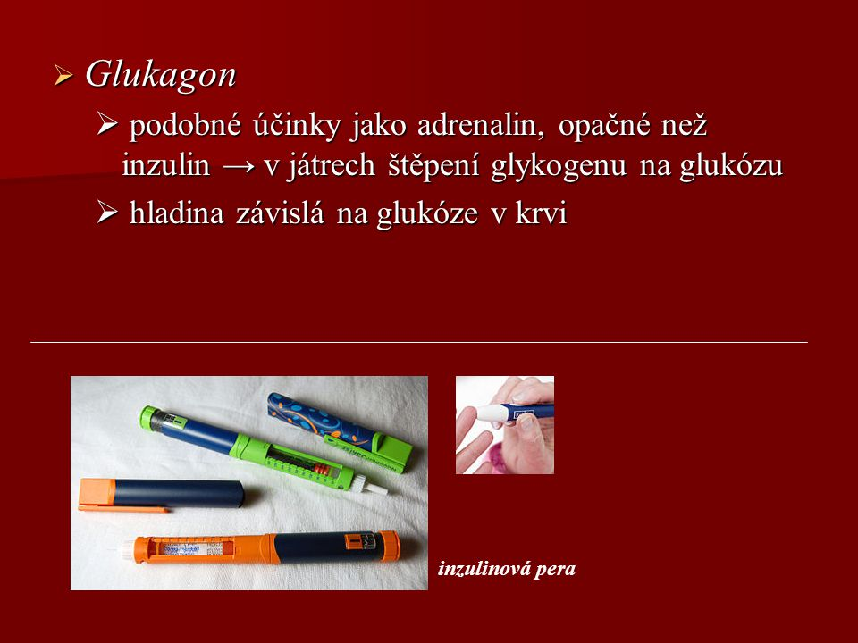 Glukagon podobné účinky jako adrenalin, opačné než inzulin → v játrech štěpení glykogenu na glukózu.