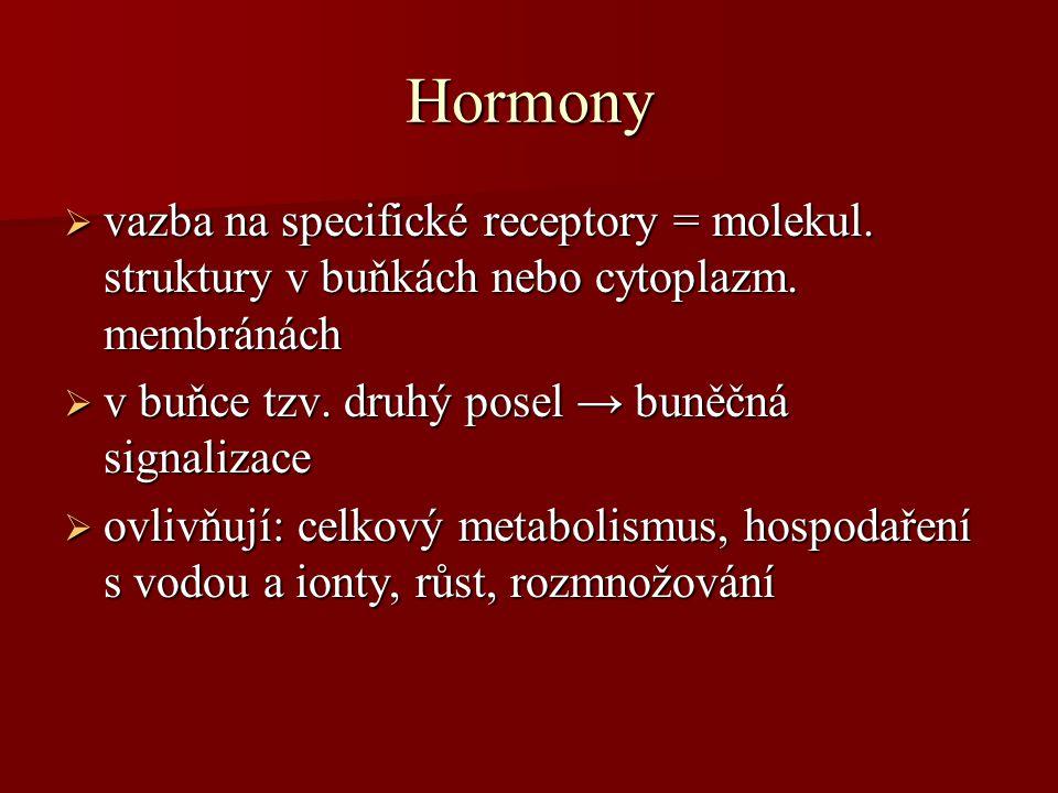 Hormony vazba na specifické receptory = molekul. struktury v buňkách nebo cytoplazm. membránách. v buňce tzv. druhý posel → buněčná signalizace.