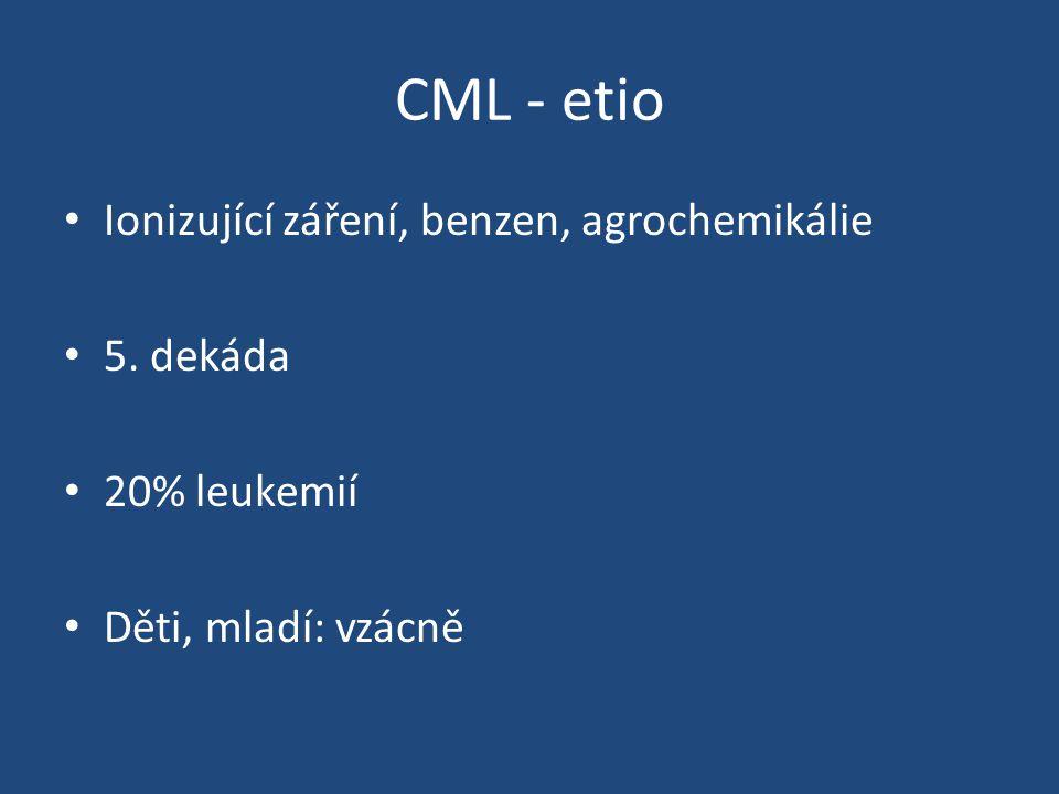 CML - etio Ionizující záření, benzen, agrochemikálie 5. dekáda