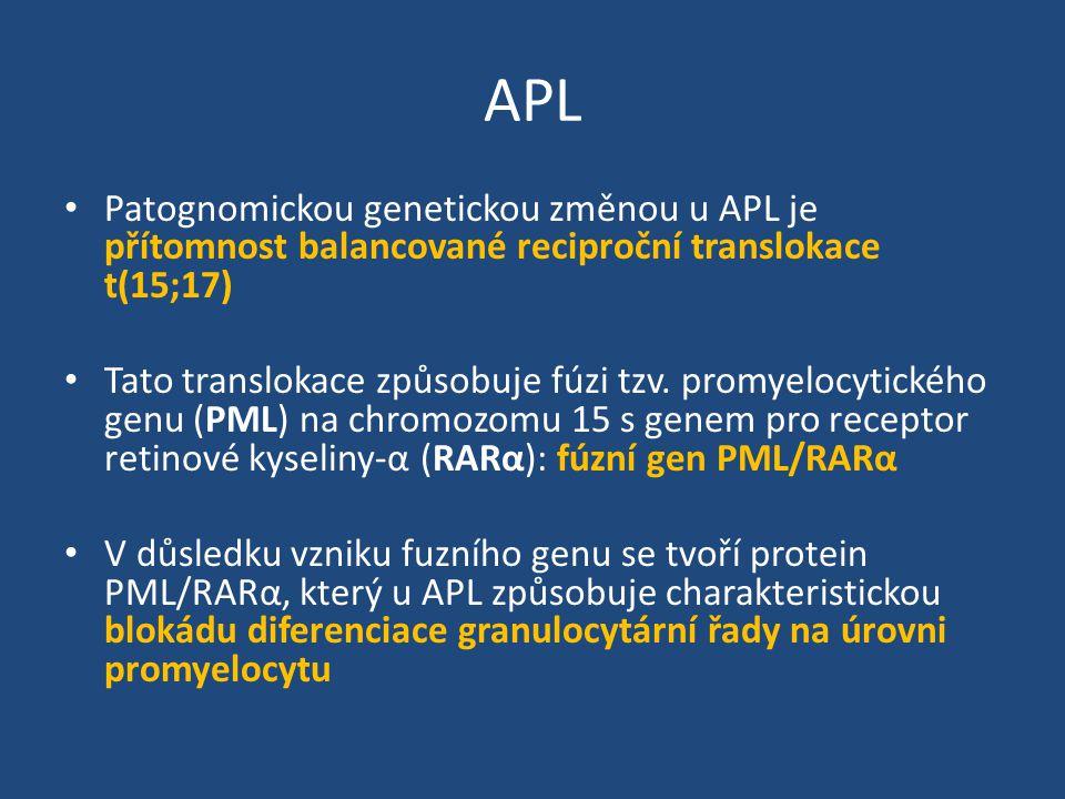 APL Patognomickou genetickou změnou u APL je přítomnost balancované reciproční translokace t(15;17)