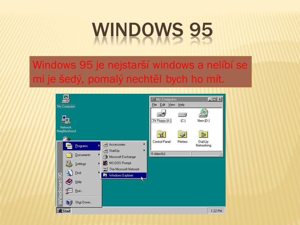 Windows 95 Windows 95 je nejstarší windows a nelíbí se mi je šedý, pomalý nechtěl bych ho mít.