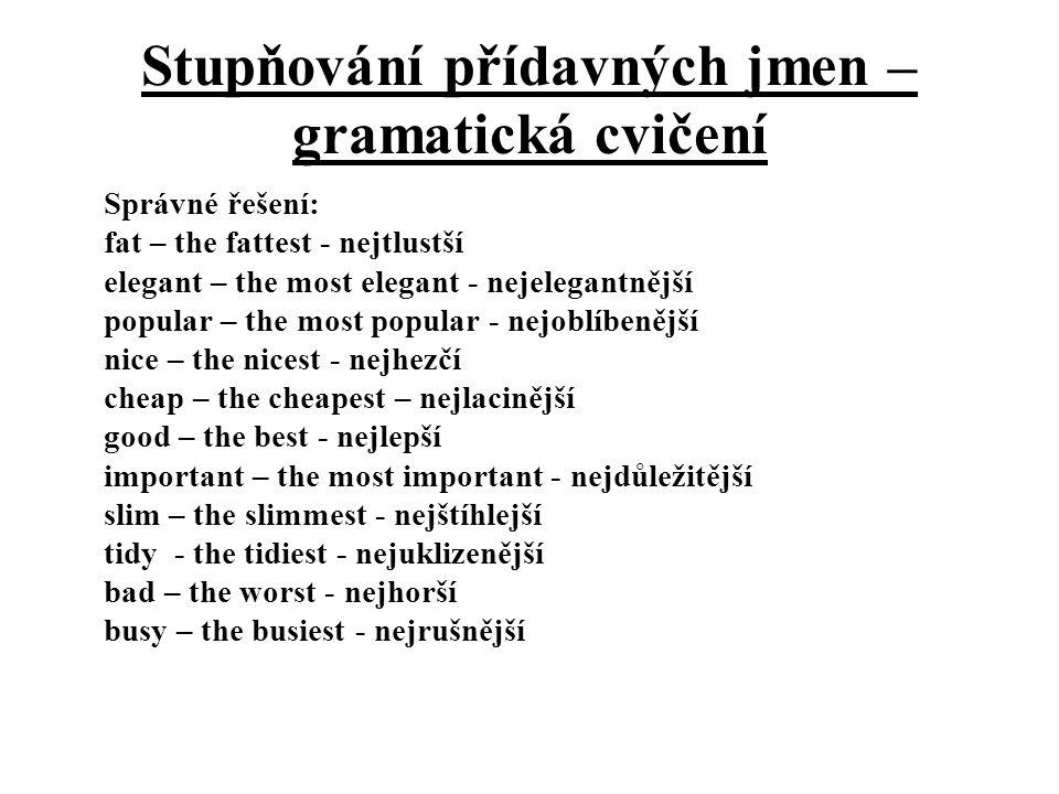 Stupňování přídavných jmen – gramatická cvičení