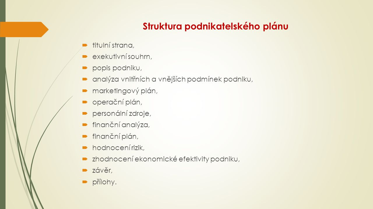 Struktura podnikatelského plánu