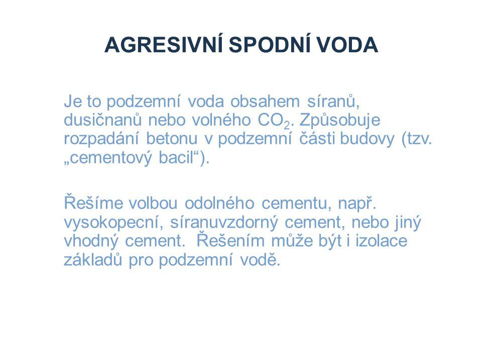 Zdroje Agresivní spodní voda.