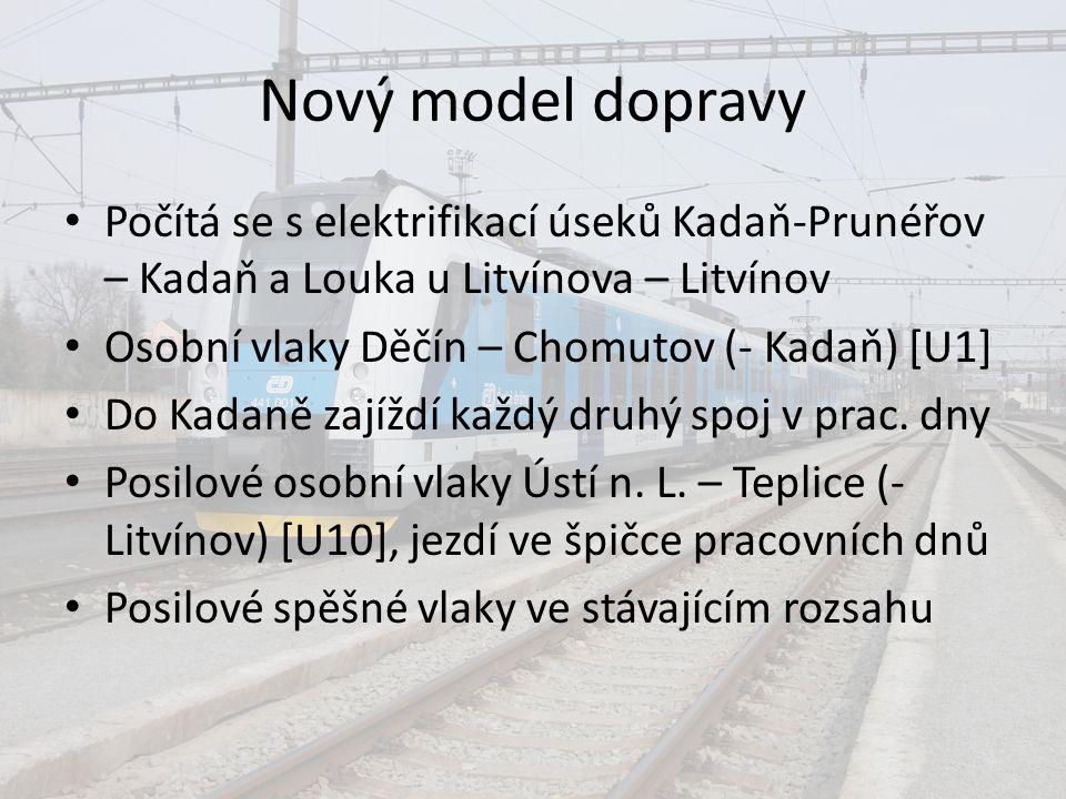 Nový model dopravy Počítá se s elektrifikací úseků Kadaň-Prunéřov – Kadaň a Louka u Litvínova – Litvínov.
