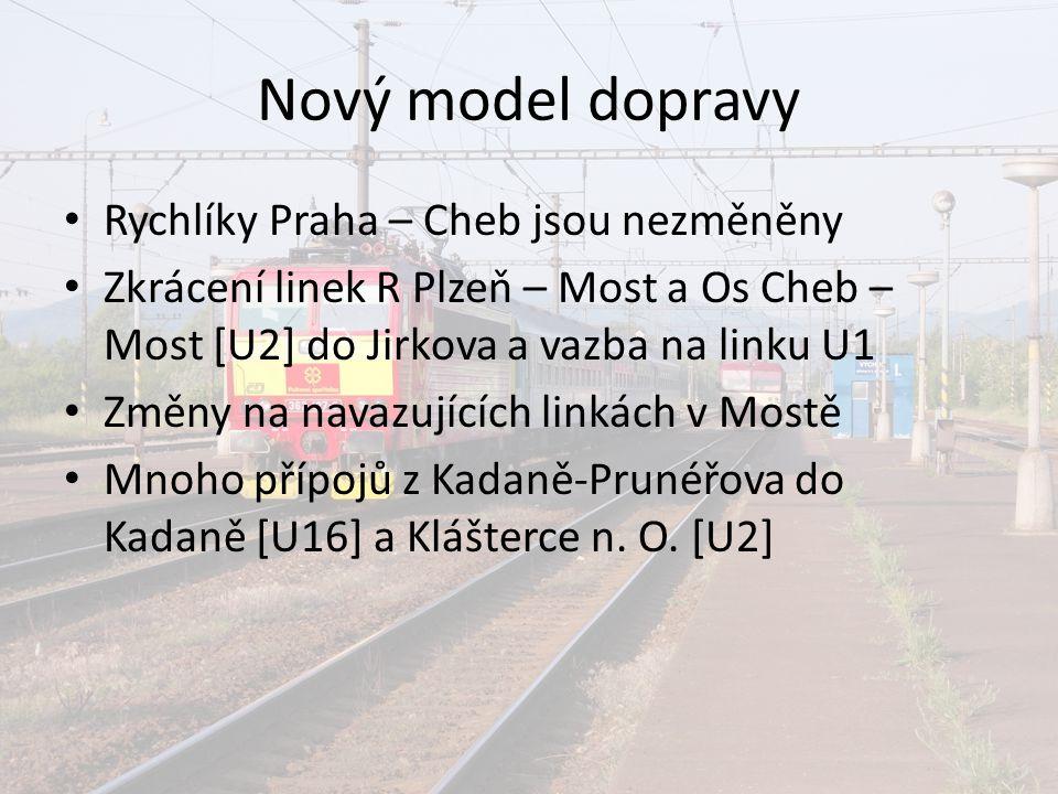 Nový model dopravy Rychlíky Praha – Cheb jsou nezměněny