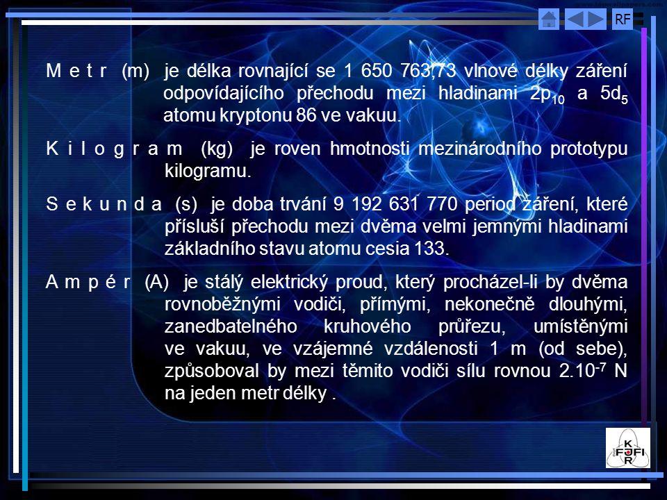 M e t r (m) je délka rovnající se 1 650 763,73 vlnové délky záření odpovídajícího přechodu mezi hladinami 2p10 a 5d5 atomu kryptonu 86 ve vakuu.