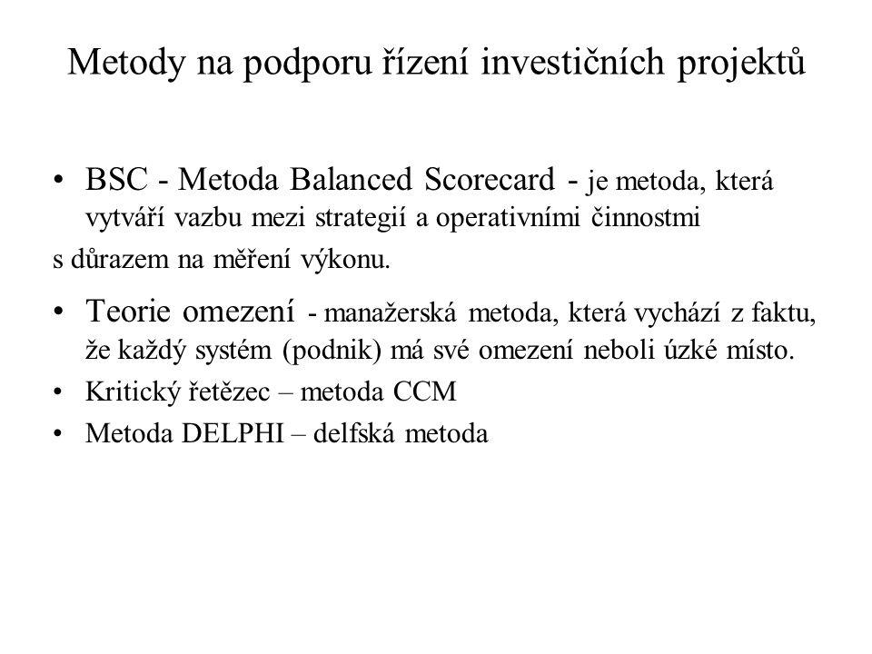 Metody na podporu řízení investičních projektů
