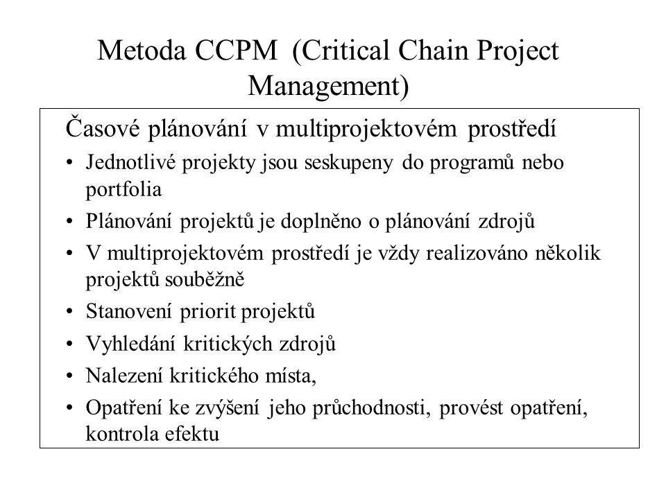 Metoda CCPM (Critical Chain Project Management)