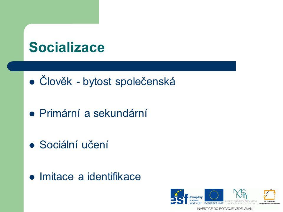 Socializace Člověk - bytost společenská Primární a sekundární