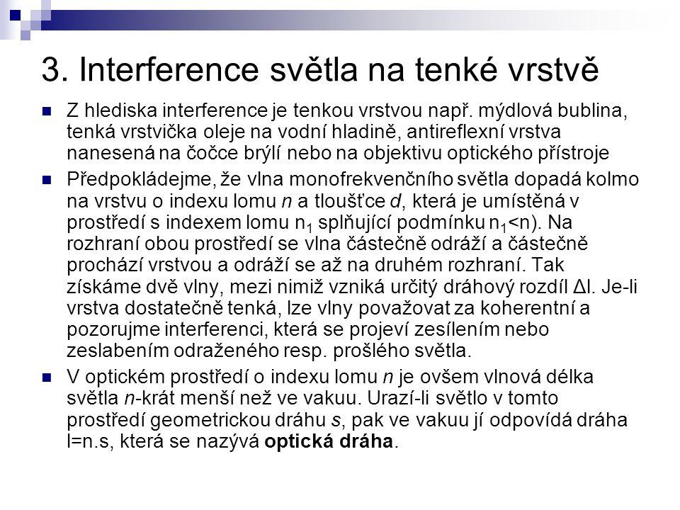 3. Interference světla na tenké vrstvě
