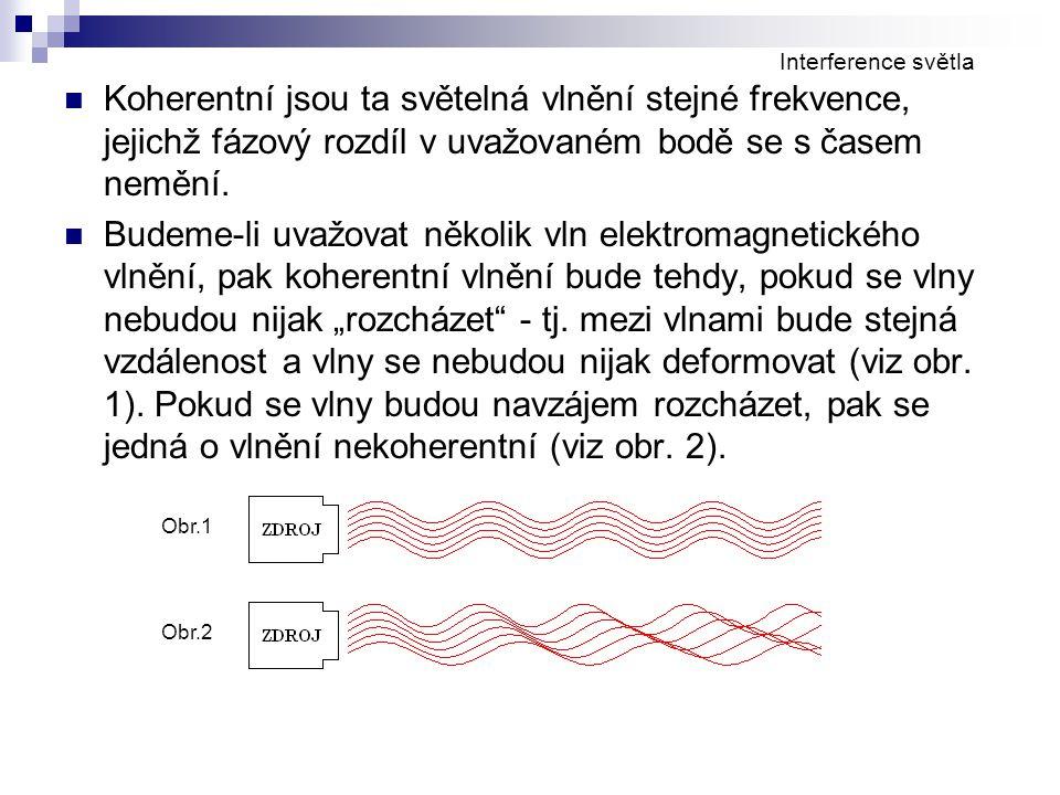 Interference světla Koherentní jsou ta světelná vlnění stejné frekvence, jejichž fázový rozdíl v uvažovaném bodě se s časem nemění.