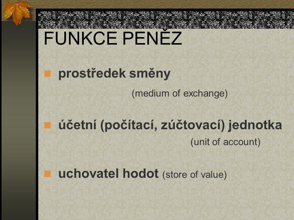 FUNKCE PENĚZ prostředek směny (medium of exchange)