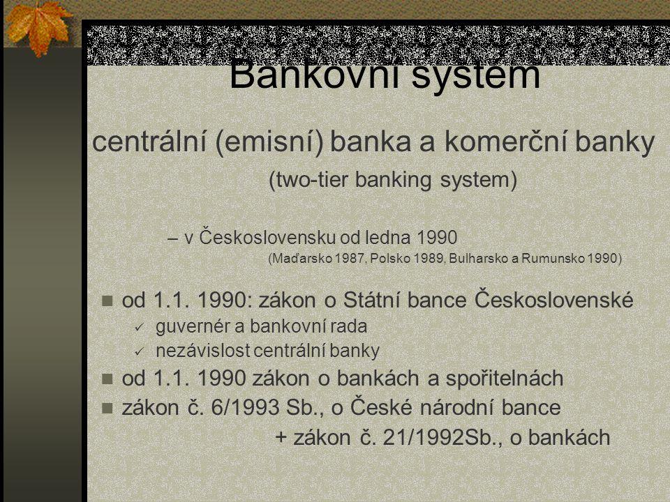 Bankovní systém centrální (emisní) banka a komerční banky (two-tier banking system) v Československu od ledna 1990.