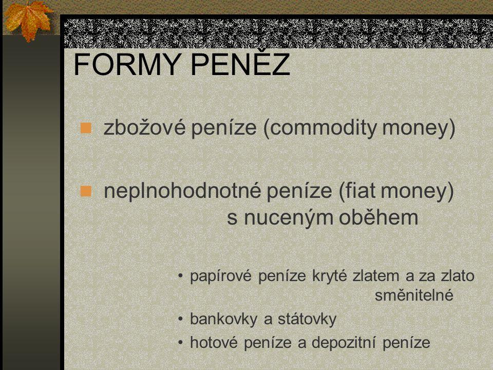 FORMY PENĚZ zbožové peníze (commodity money)