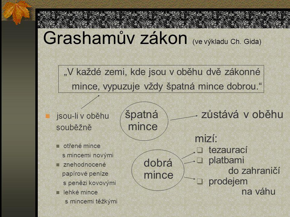 Grashamův zákon (ve výkladu Ch. Gida)