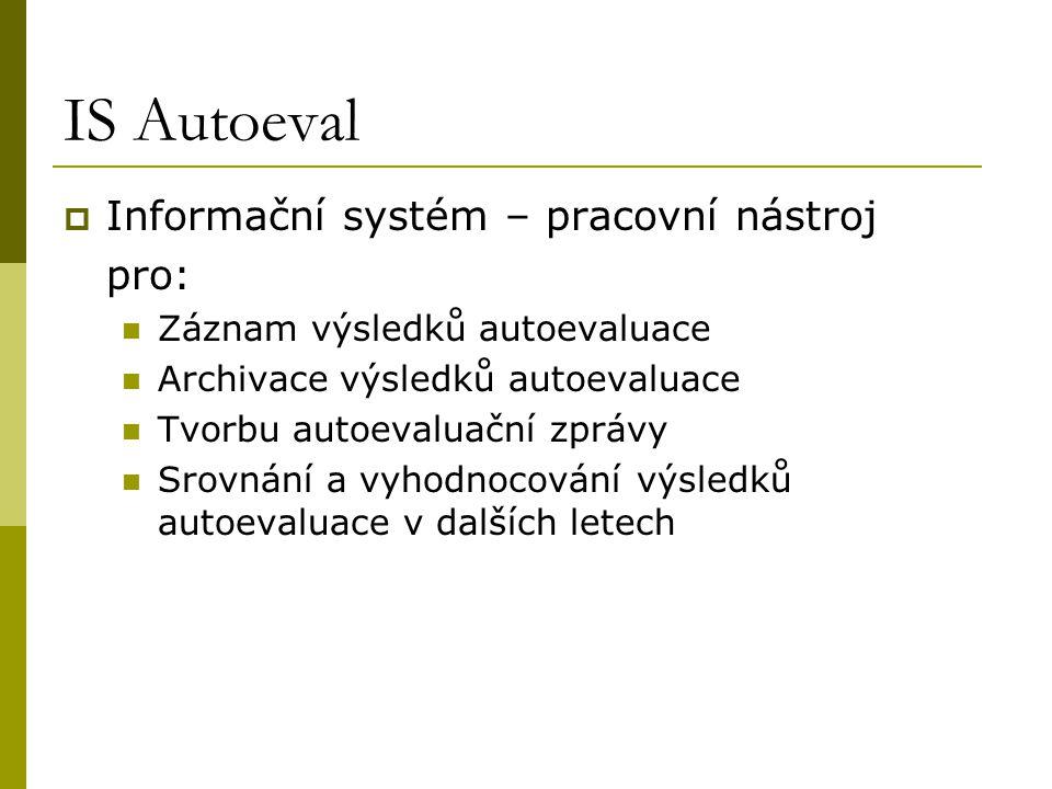 IS Autoeval Informační systém – pracovní nástroj pro: