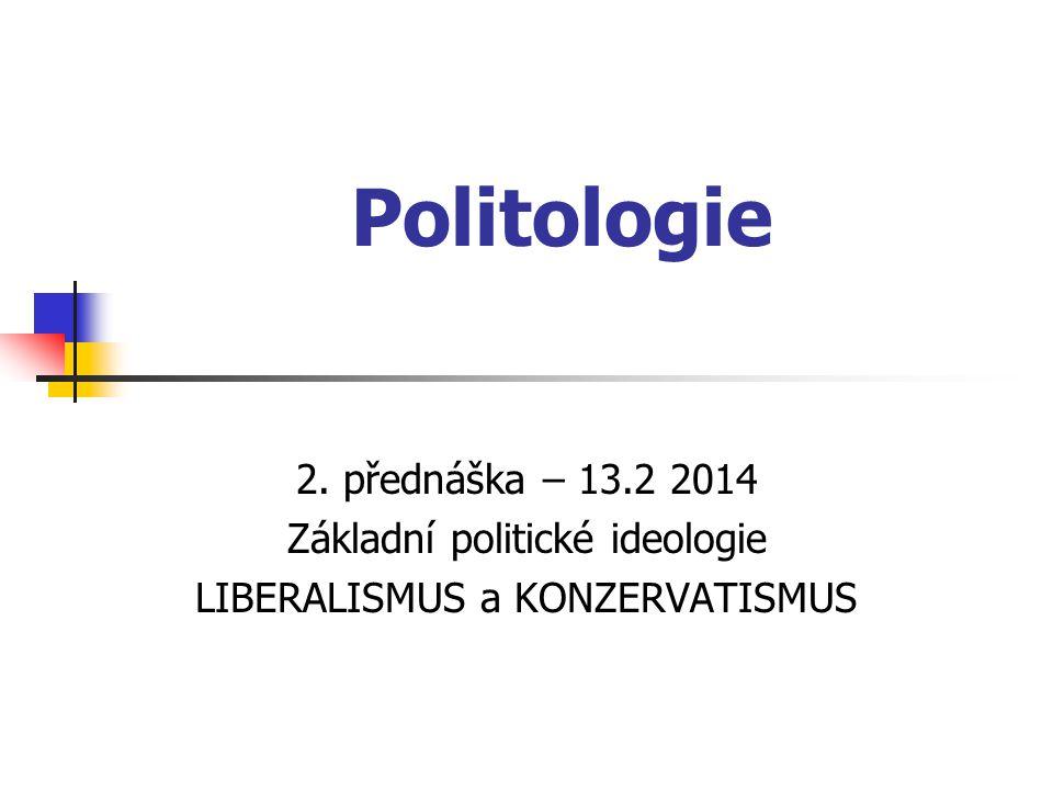 Politologie 2. přednáška – 13.2 2014 Základní politické ideologie