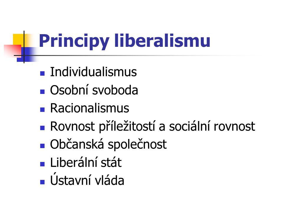 Principy liberalismu Individualismus Osobní svoboda Racionalismus