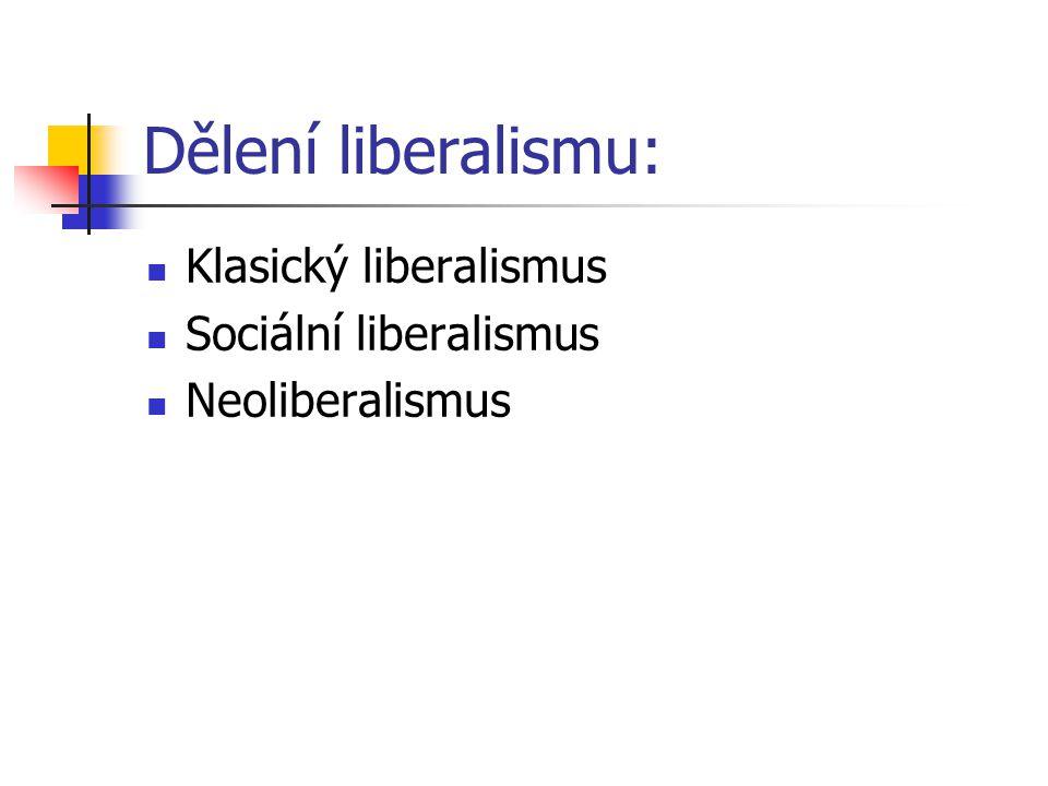 Dělení liberalismu: Klasický liberalismus Sociální liberalismus