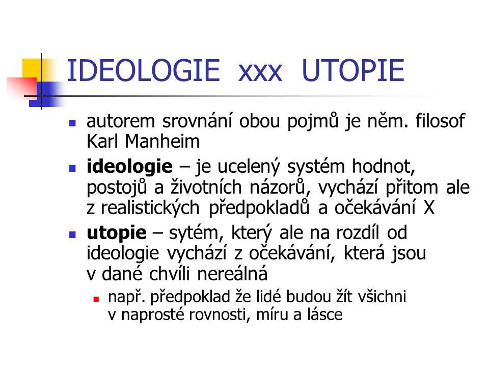 IDEOLOGIE xxx UTOPIE autorem srovnání obou pojmů je něm. filosof Karl Manheim.