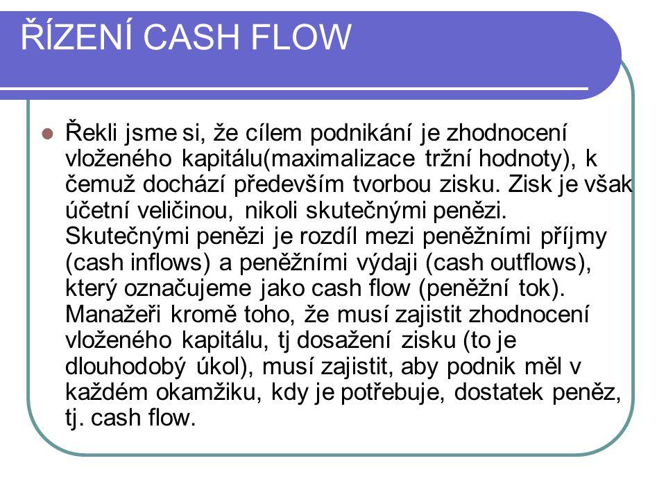ŘĺZENÍ CASH FLOW