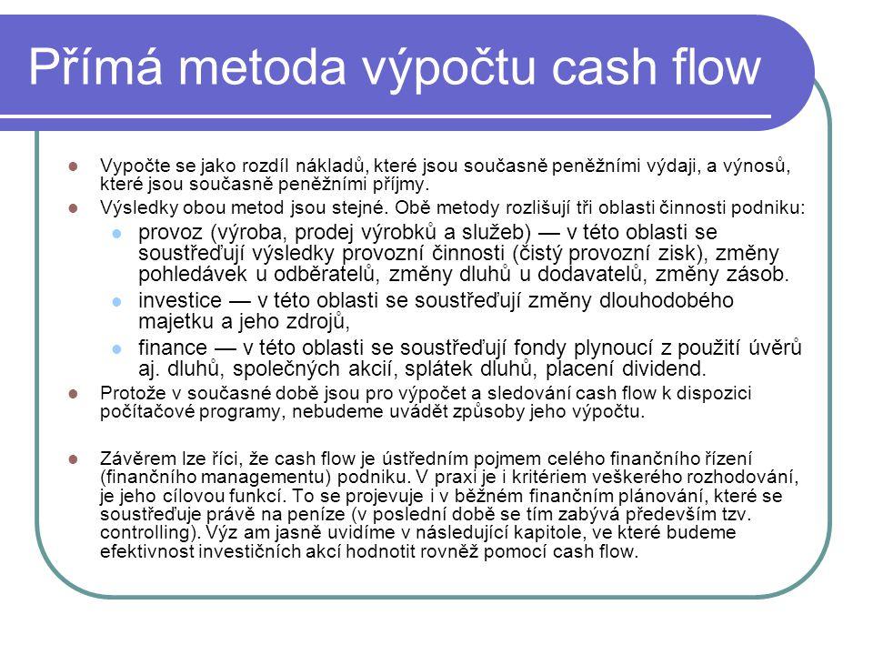 Přímá metoda výpočtu cash flow