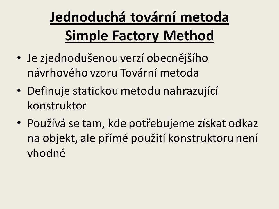 Jednoduchá tovární metoda Simple Factory Method
