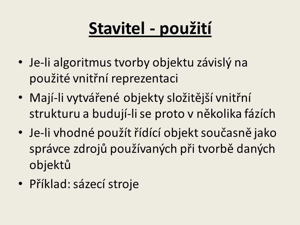 Stavitel - použití Je-li algoritmus tvorby objektu závislý na použité vnitřní reprezentaci.