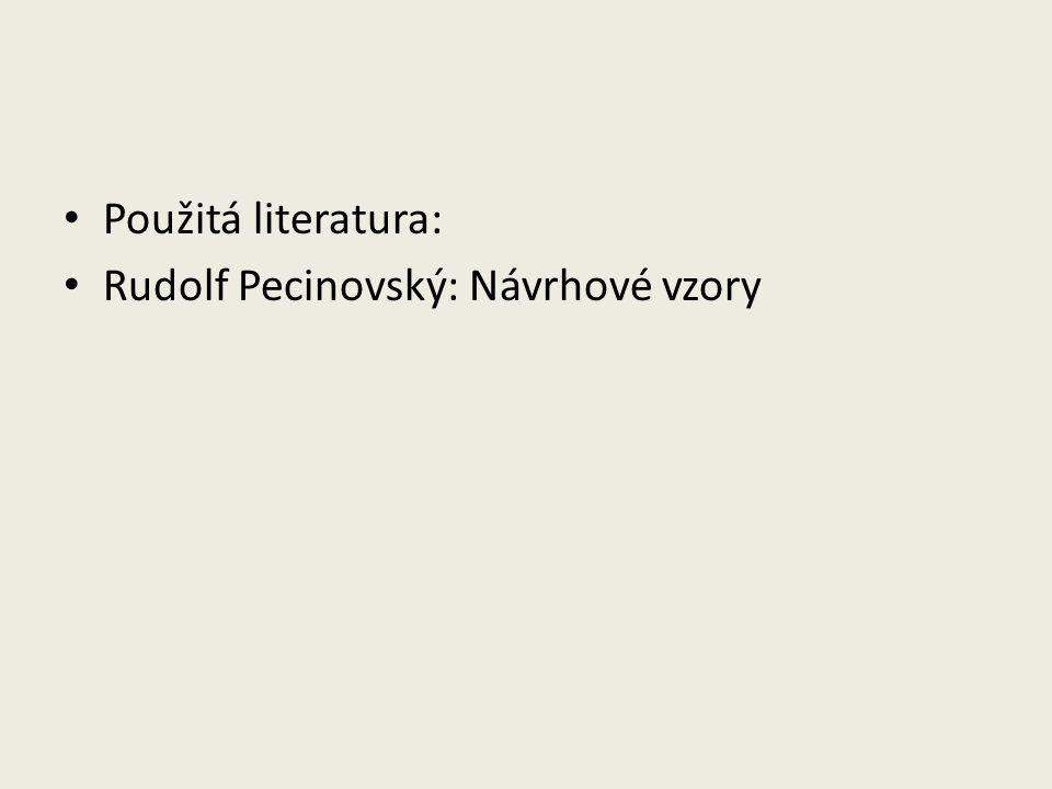 Použitá literatura: Rudolf Pecinovský: Návrhové vzory