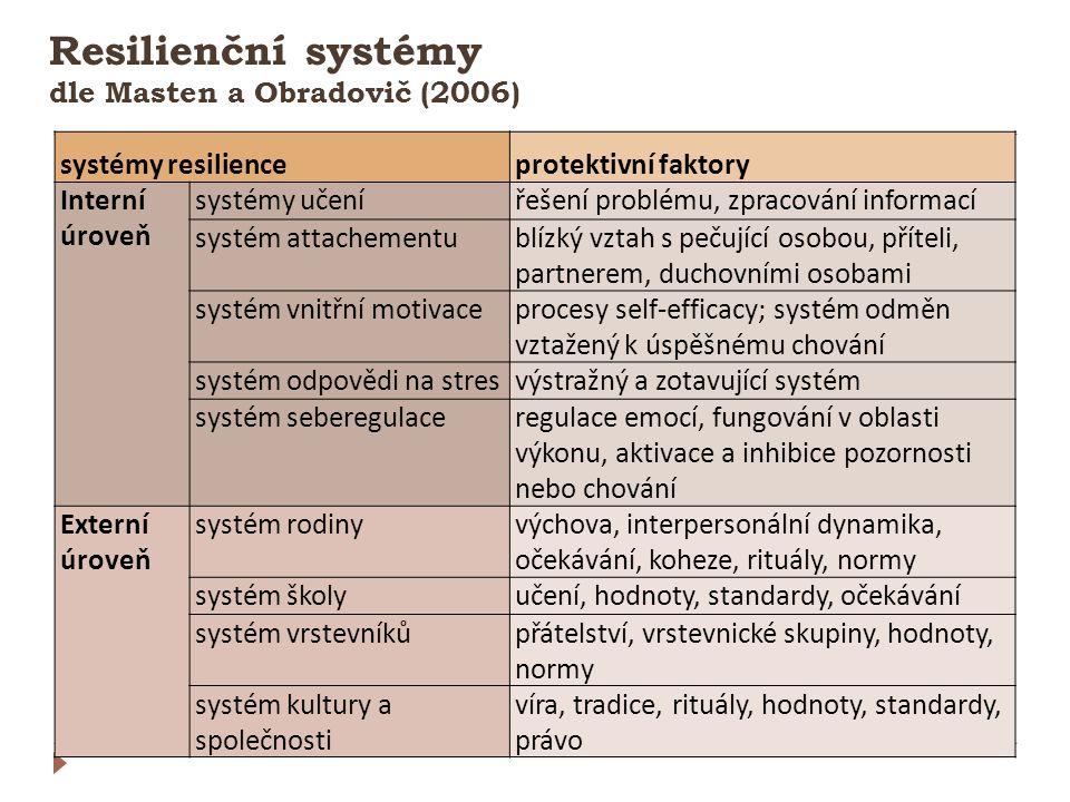 Resilienční systémy dle Masten a Obradovič (2006)