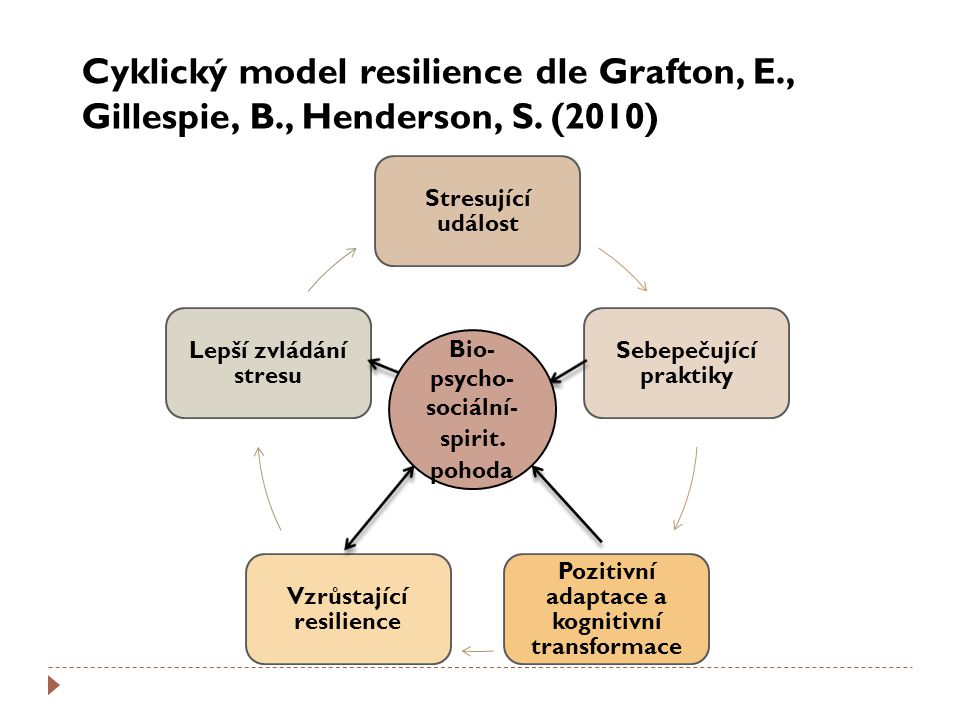 Cyklický model resilience dle Grafton, E. , Gillespie, B