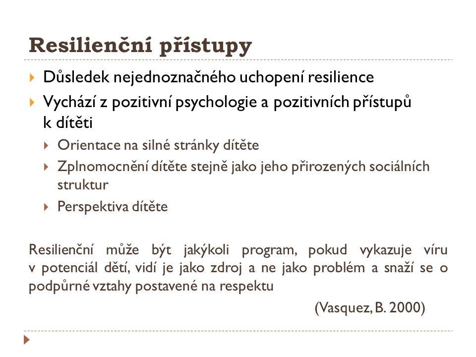 Resilienční přístupy Důsledek nejednoznačného uchopení resilience